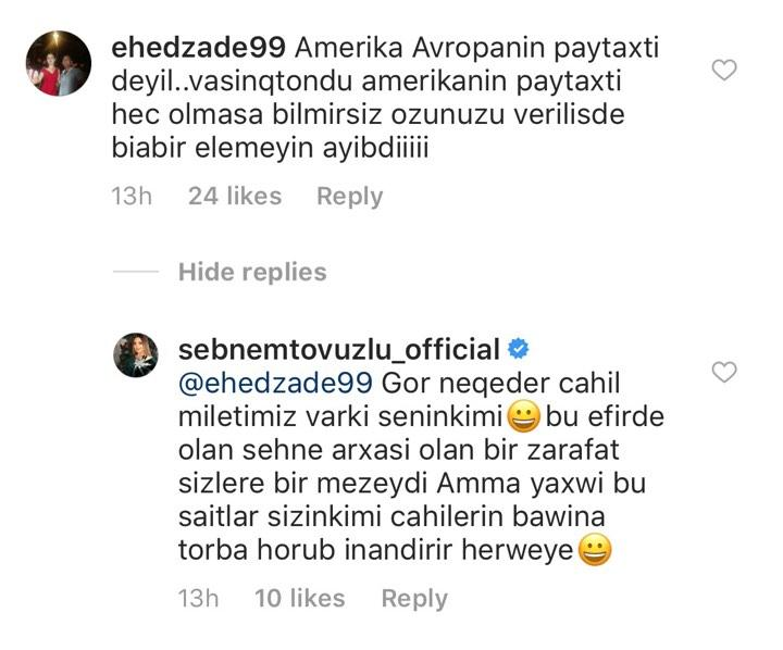 """Şəbnəmdən Amerika söhbətinə reaksiya: """"Cahil millətimiz var"""""""
