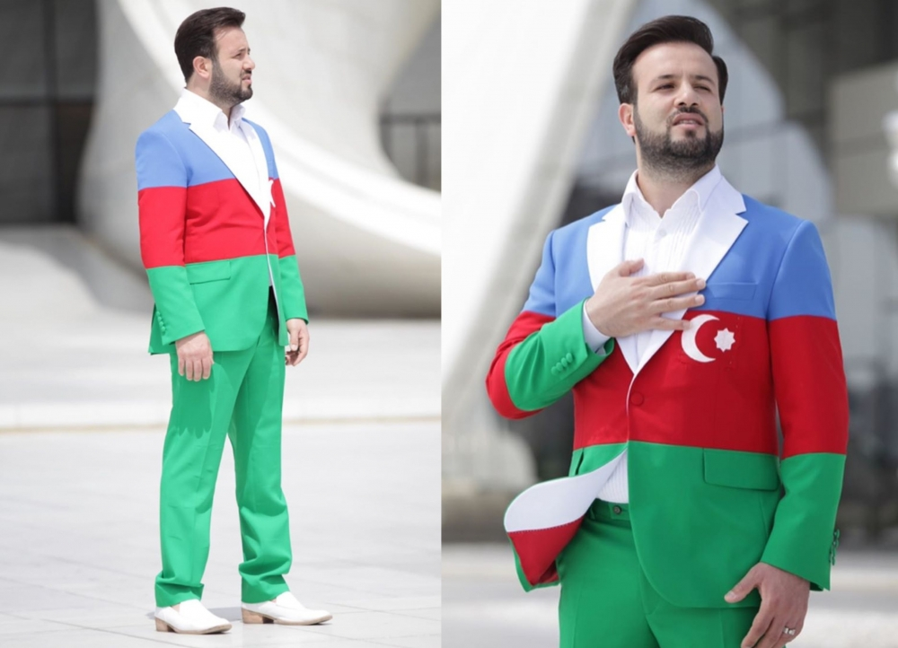 Elnurun bayraqdan kostyumu tənqid olundu - Fotolar