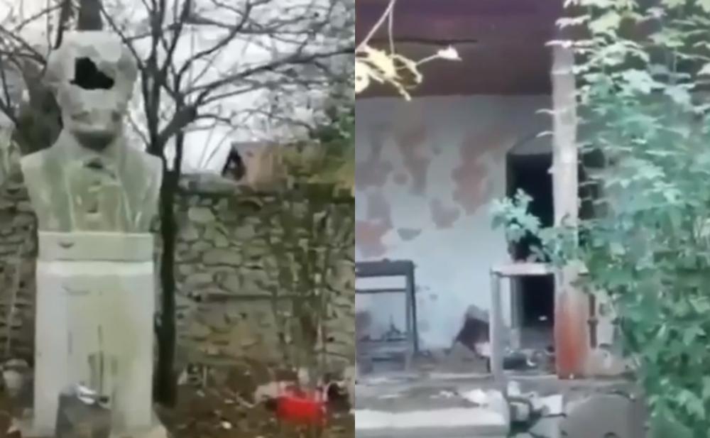 Ermənilər Bülbülün ev muzeyini dağıtdı -  Video