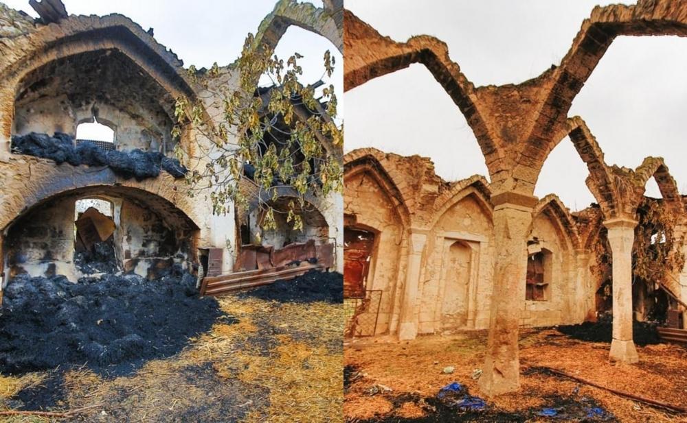 Ermənilər Ağdamda məscidi də yandırıb -  Fotolar