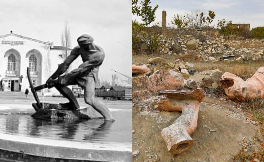Ağdamdakı məşhur heykəlin parçalanmış halı