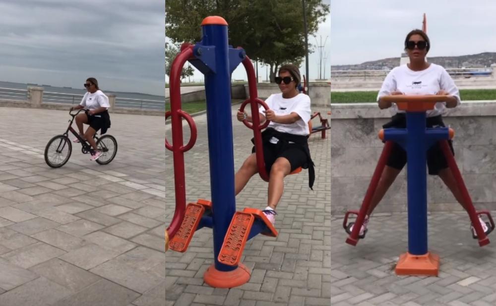 Aygün Kazımova bulvarda velosiped sürüb, idman etdi - Video