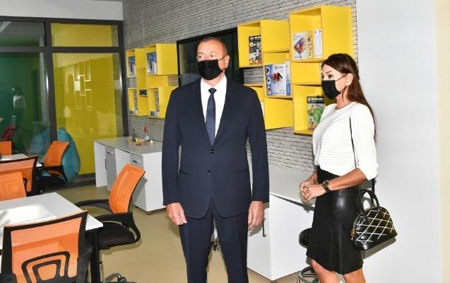 Prezidentlə xanımı Bakı Avropa Liseyinin yeni binasının açılışında - Fotolar